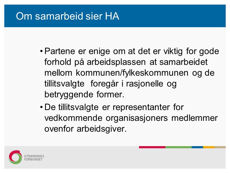 Om samarbeid sier HA Partene er enige om at det er viktig for gode forhold på arbeidsplassen at samarbeidet mellom kommunen/fylkeskommunen og de tilli