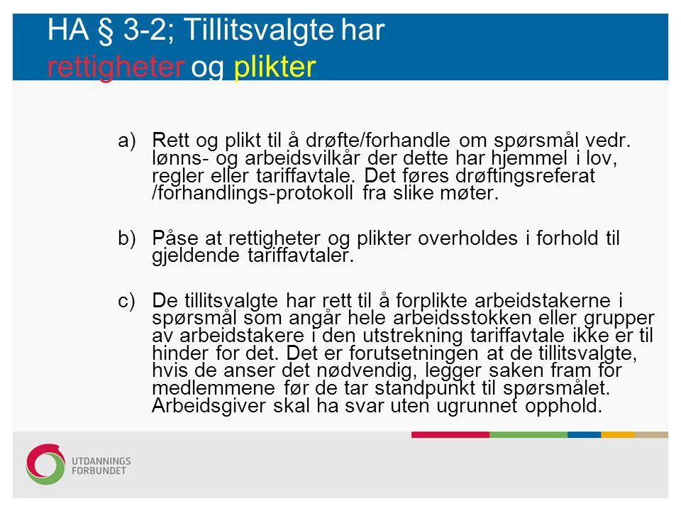 HA § 3-2; Tillitsvalgte har rettigheter og plikter a)Rett og plikt til å drøfte/forhandle om spørsmål vedr. lønns- og arbeidsvilkår der dette har hjem
