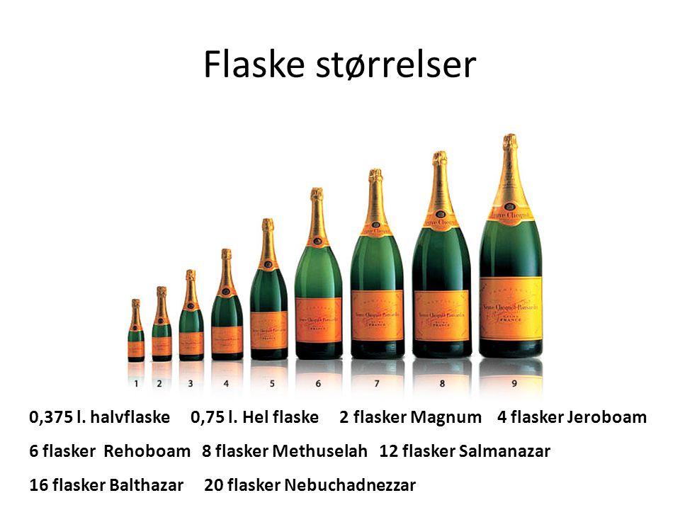 Flaske størrelser 0,375 l. halvflaske 0,75 l. Hel flaske 2 flasker Magnum 4 flasker Jeroboam 6 flasker Rehoboam 8 flasker Methuselah 12 flasker Salman