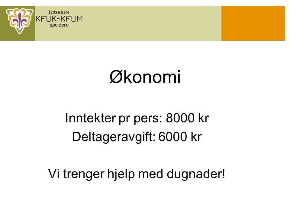 Økonomi Inntekter pr pers: 8000 kr Deltageravgift: 6000 kr Vi trenger hjelp med dugnader!