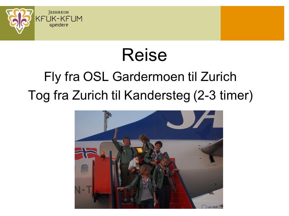 Reise Fly fra OSL Gardermoen til Zurich Tog fra Zurich til Kandersteg (2-3 timer)
