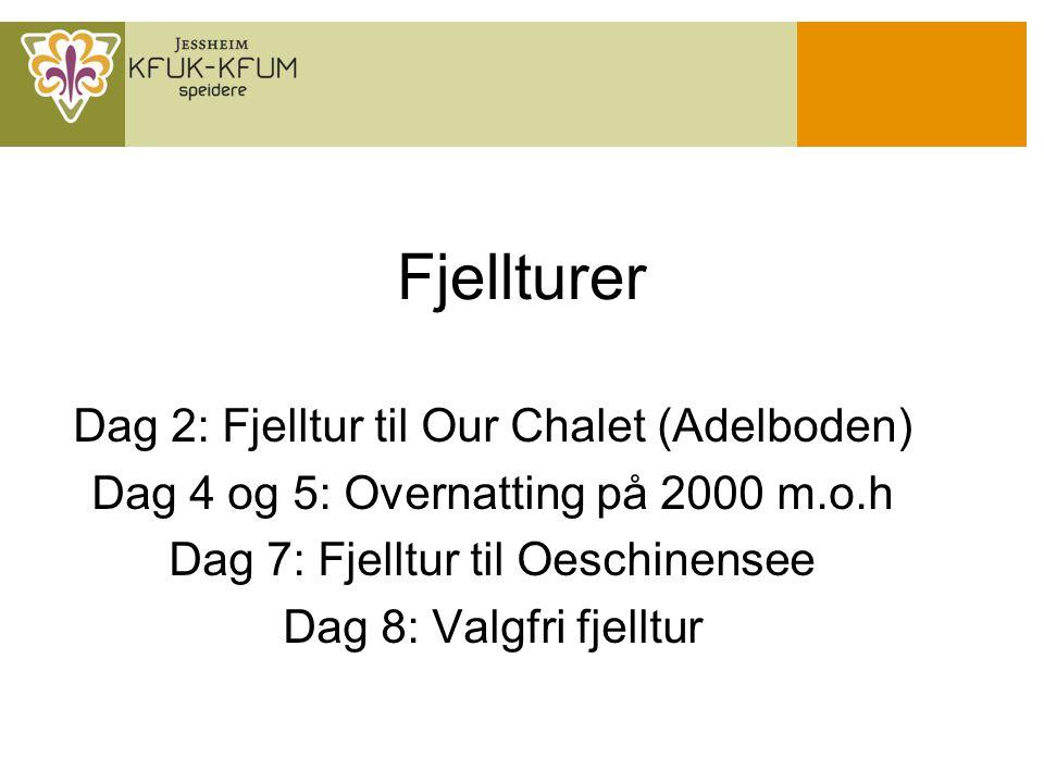 Fjellturer Dag 2: Fjelltur til Our Chalet (Adelboden) Dag 4 og 5: Overnatting på 2000 m.o.h Dag 7: Fjelltur til Oeschinensee Dag 8: Valgfri fjelltur