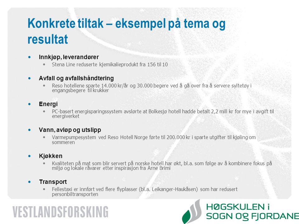 www.vestforsk.no Konkrete tiltak – eksempel på tema og resultat Innkjøp, leverandører Stena Line reduserte kjemikalieprodukt fra 156 til 10 Avfall og
