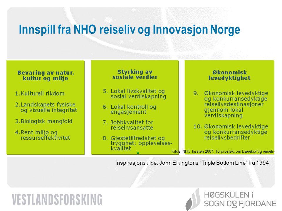 www.vestforsk.no Innspill fra NHO reiseliv og Innovasjon Norge Kilde: NHO høsten 2007: forprosjekt om bærekraftig reiseliv Inspirasjonskilde: John Elk