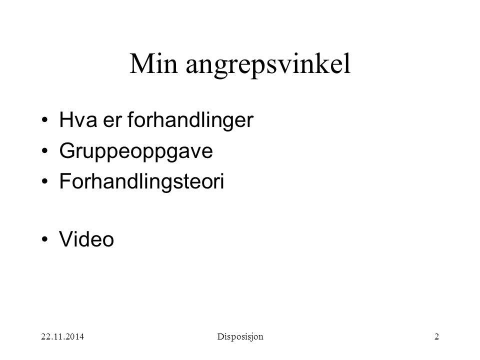 22.11.2014Disposisjon2 Min angrepsvinkel Hva er forhandlinger Gruppeoppgave Forhandlingsteori Video