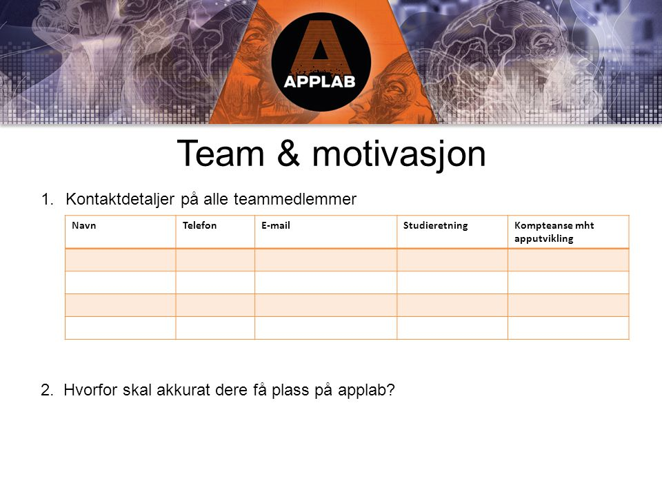 Team & motivasjon 1.Kontaktdetaljer på alle teammedlemmer 2.