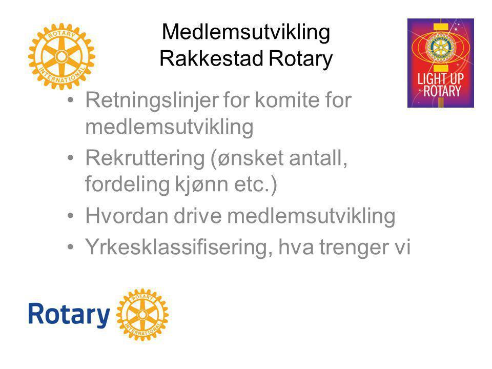 Medlemsutvikling Rakkestad Rotary Retningslinjer for komite for medlemsutvikling Rekruttering (ønsket antall, fordeling kjønn etc.) Hvordan drive medl