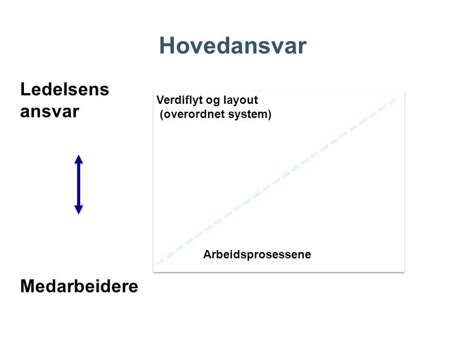 Hovedansvar Verdiflyt og layout (overordnet system) Arbeidsprosessene Verdiflyt og layout (overordnet system) Arbeidsprosessene Ledelsens ansvar Medar