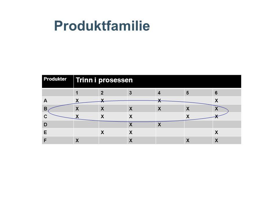 Produktfamilie Produkter Trinn i prosessen 123456 AXXXX BXXXXXX CXXXXX DXX EXXX FXXXX