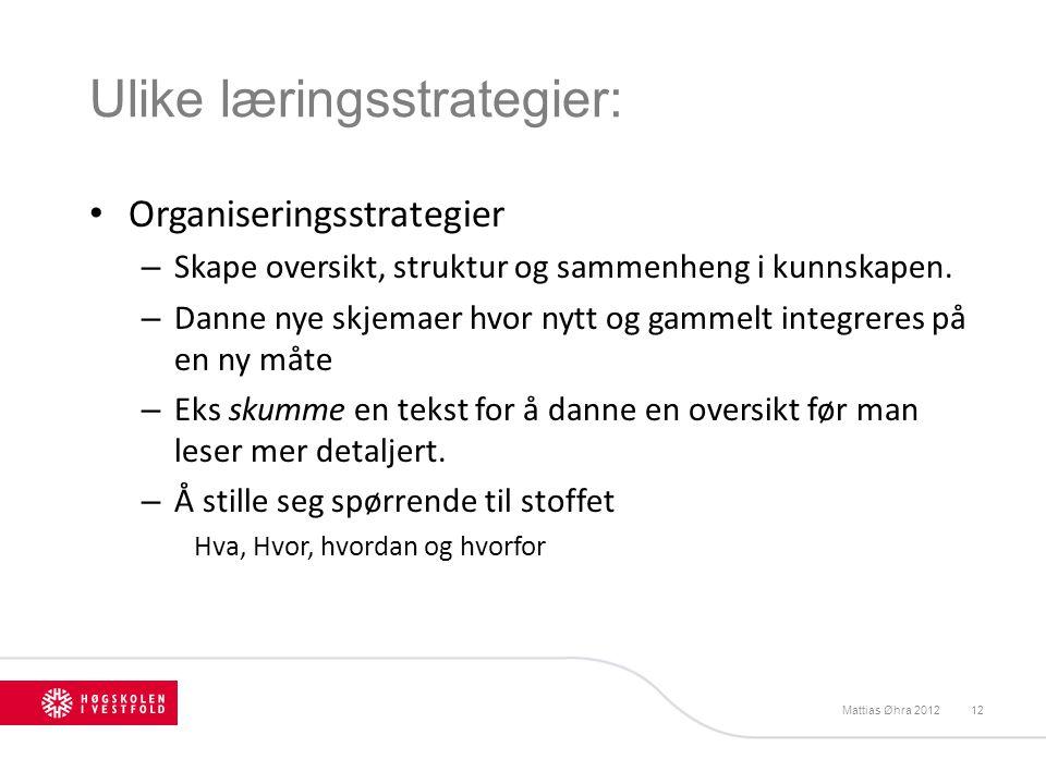 Ulike læringsstrategier: Organiseringsstrategier – Skape oversikt, struktur og sammenheng i kunnskapen. – Danne nye skjemaer hvor nytt og gammelt inte