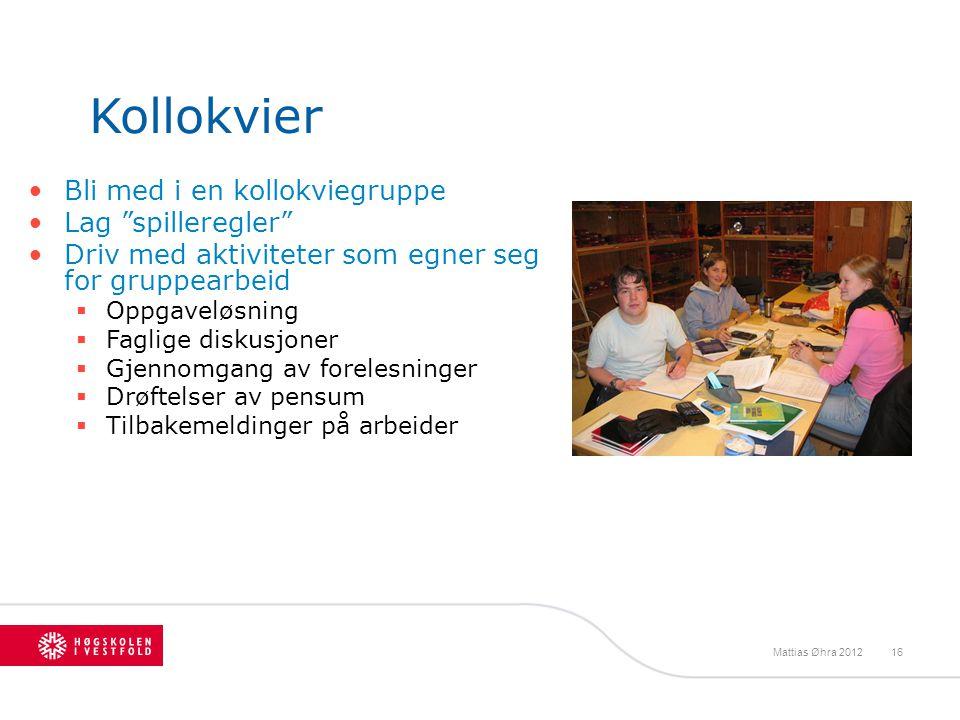 """Kollokvier Bli med i en kollokviegruppe Lag """"spilleregler"""" Driv med aktiviteter som egner seg for gruppearbeid  Oppgaveløsning  Faglige diskusjoner"""