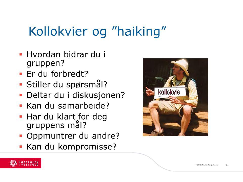 """Kollokvier og """"haiking""""  Hvordan bidrar du i gruppen?  Er du forbredt?  Stiller du spørsmål?  Deltar du i diskusjonen?  Kan du samarbeide?  Har"""