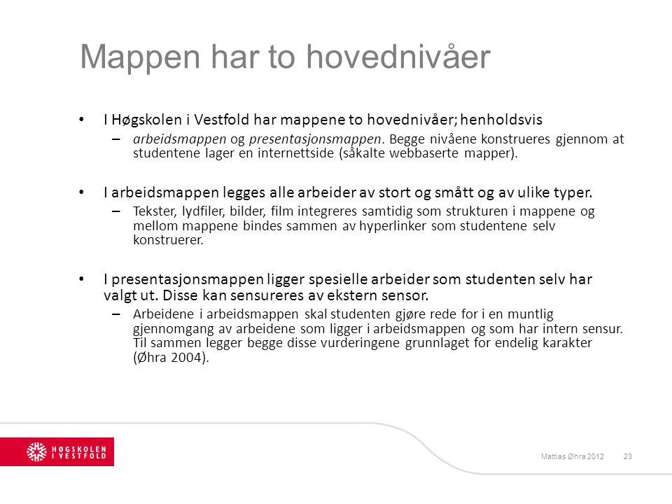 Mappen har to hovednivåer I Høgskolen i Vestfold har mappene to hovednivåer; henholdsvis – arbeidsmappen og presentasjonsmappen. Begge nivåene konstru