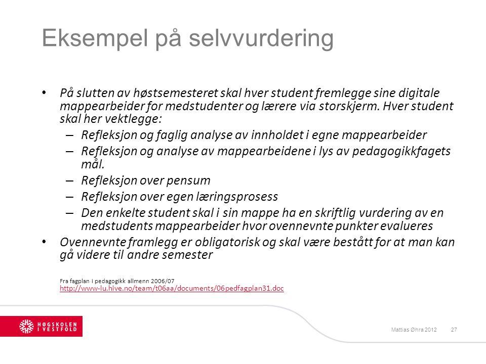 Eksempel på selvvurdering På slutten av høstsemesteret skal hver student fremlegge sine digitale mappearbeider for medstudenter og lærere via storskje