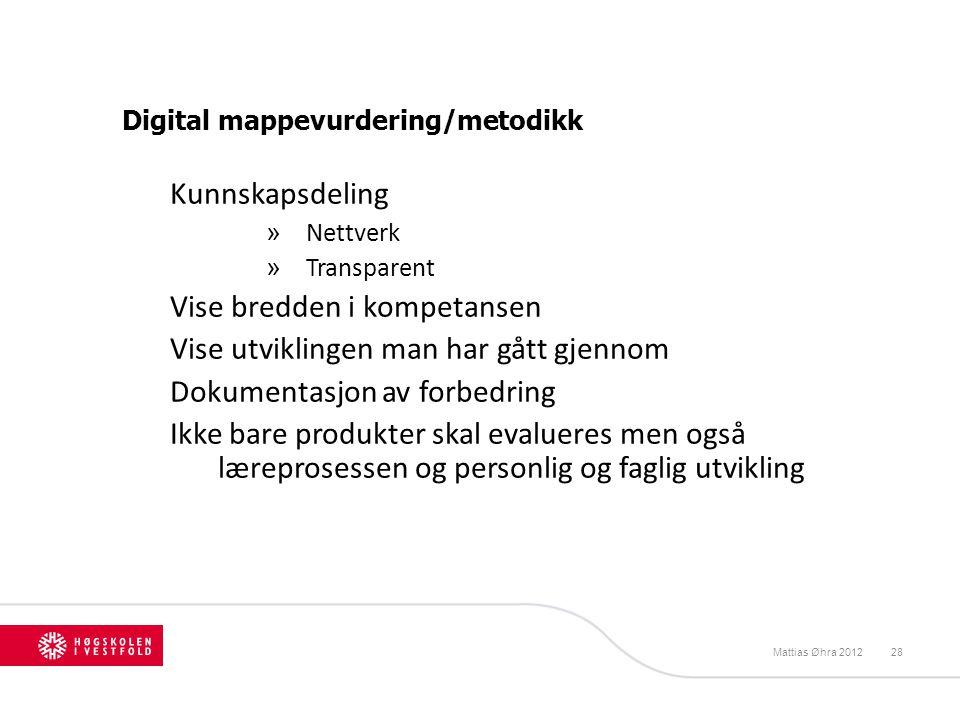 Digital mappevurdering/metodikk Kunnskapsdeling » Nettverk » Transparent Vise bredden i kompetansen Vise utviklingen man har gått gjennom Dokumentasjo