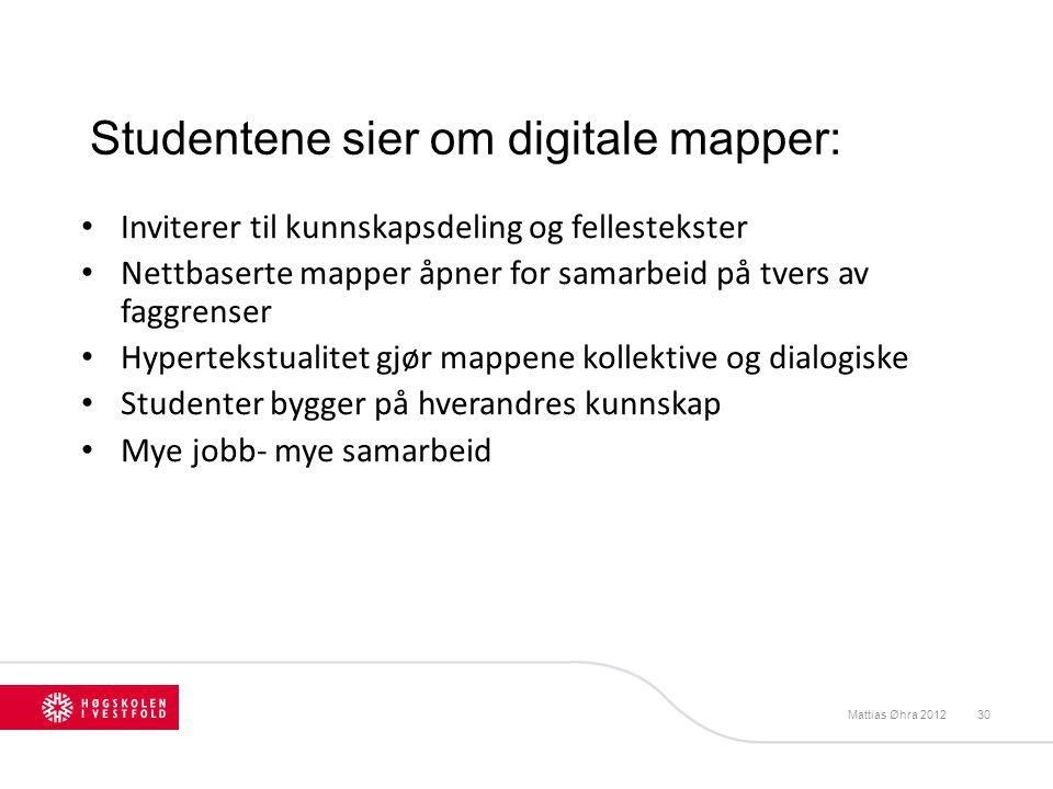 Studentene sier om digitale mapper: Inviterer til kunnskapsdeling og fellestekster Nettbaserte mapper åpner for samarbeid på tvers av faggrenser Hyper