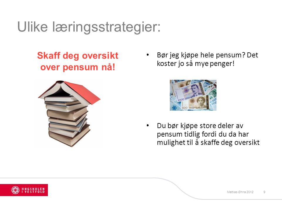 Ulike læringsstrategier: Bør jeg kjøpe hele pensum? Det koster jo så mye penger! Du bør kjøpe store deler av pensum tidlig fordi du da har mulighet ti