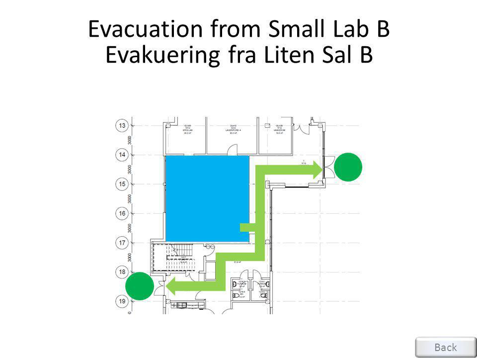 Evacuation from Small Lab B Evakuering fra Liten Sal B Back