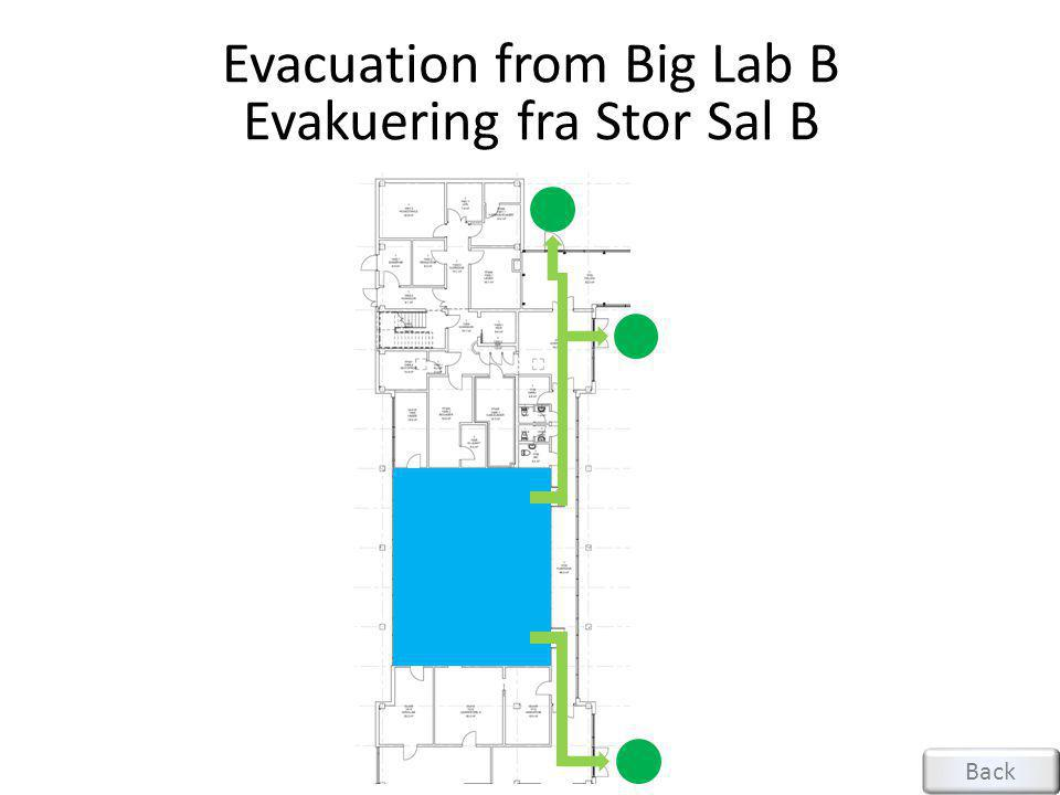 Evacuation from Small Lab A Evakuering fra Liten Sal A Back