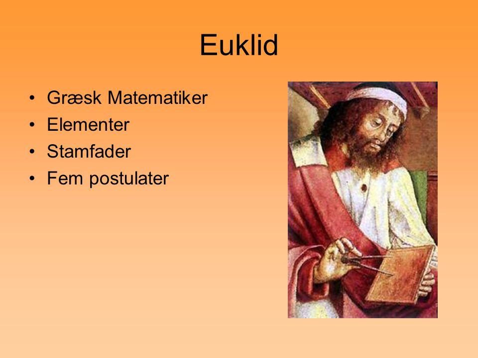 Euklid Græsk Matematiker Elementer Stamfader Fem postulater