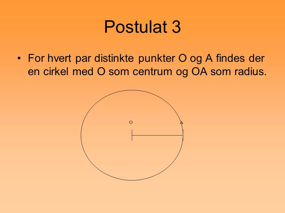 Postulat 3 For hvert par distinkte punkter O og A findes der en cirkel med O som centrum og OA som radius.