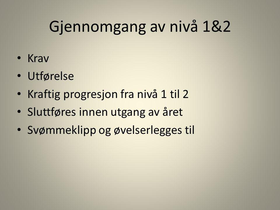 Gjennomgang av nivå 1&2 Krav Utførelse Kraftig progresjon fra nivå 1 til 2 Sluttføres innen utgang av året Svømmeklipp og øvelserlegges til