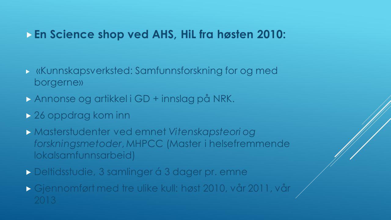  En Science shop ved AHS, HiL fra høsten 2010:  «Kunnskapsverksted: Samfunnsforskning for og med borgerne»  Annonse og artikkel i GD + innslag på NRK.