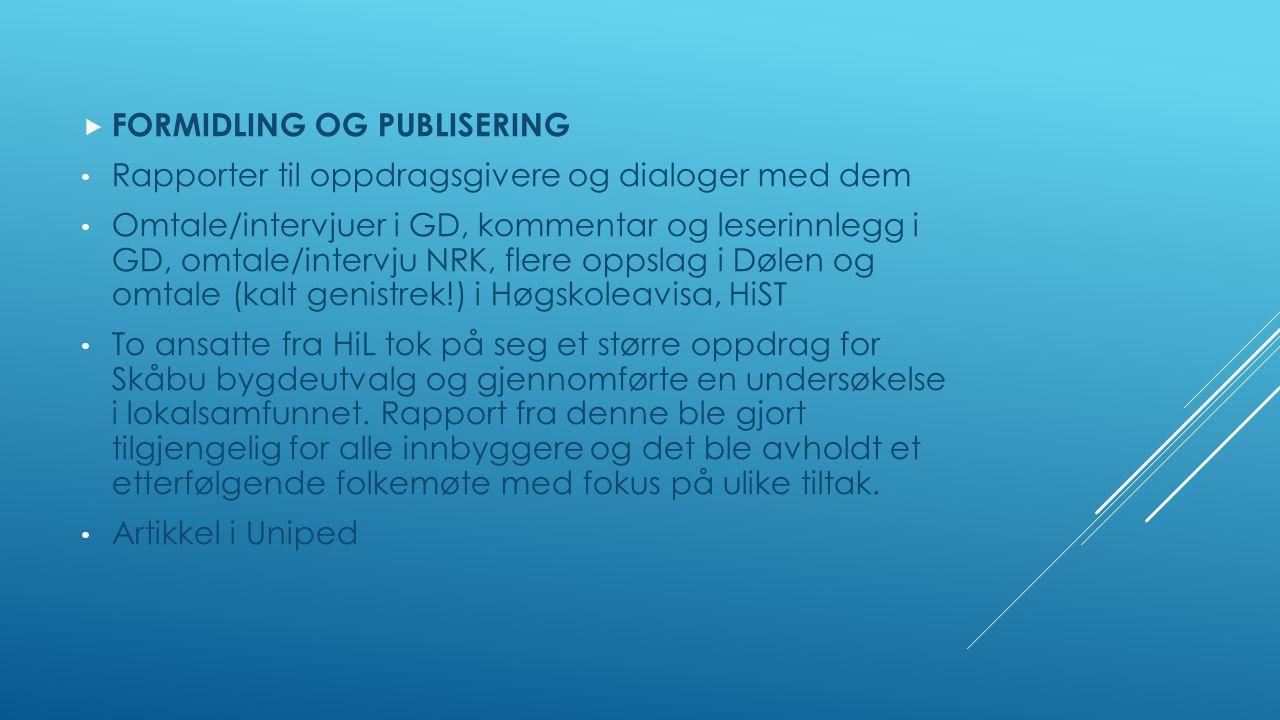  FORMIDLING OG PUBLISERING Rapporter til oppdragsgivere og dialoger med dem Omtale/intervjuer i GD, kommentar og leserinnlegg i GD, omtale/intervju NRK, flere oppslag i Dølen og omtale (kalt genistrek!) i Høgskoleavisa, HiST To ansatte fra HiL tok på seg et større oppdrag for Skåbu bygdeutvalg og gjennomførte en undersøkelse i lokalsamfunnet.