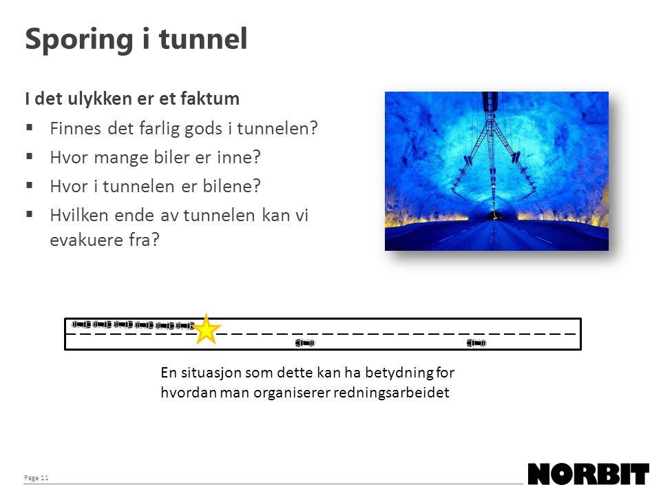 Page 11 I det ulykken er et faktum  Finnes det farlig gods i tunnelen?  Hvor mange biler er inne?  Hvor i tunnelen er bilene?  Hvilken ende av tun