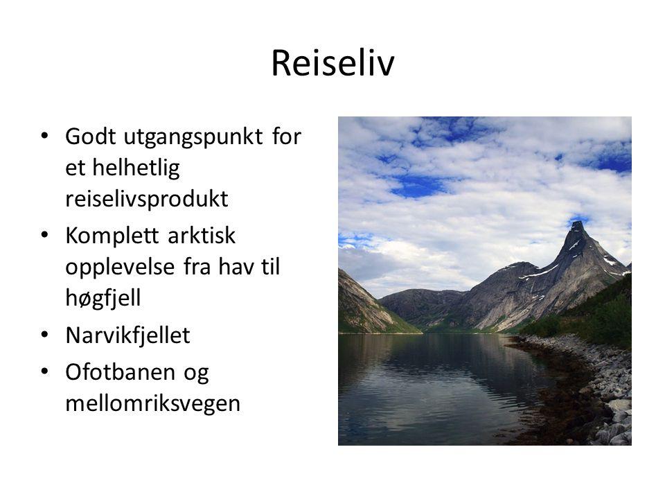 Reiseliv Godt utgangspunkt for et helhetlig reiselivsprodukt Komplett arktisk opplevelse fra hav til høgfjell Narvikfjellet Ofotbanen og mellomriksveg