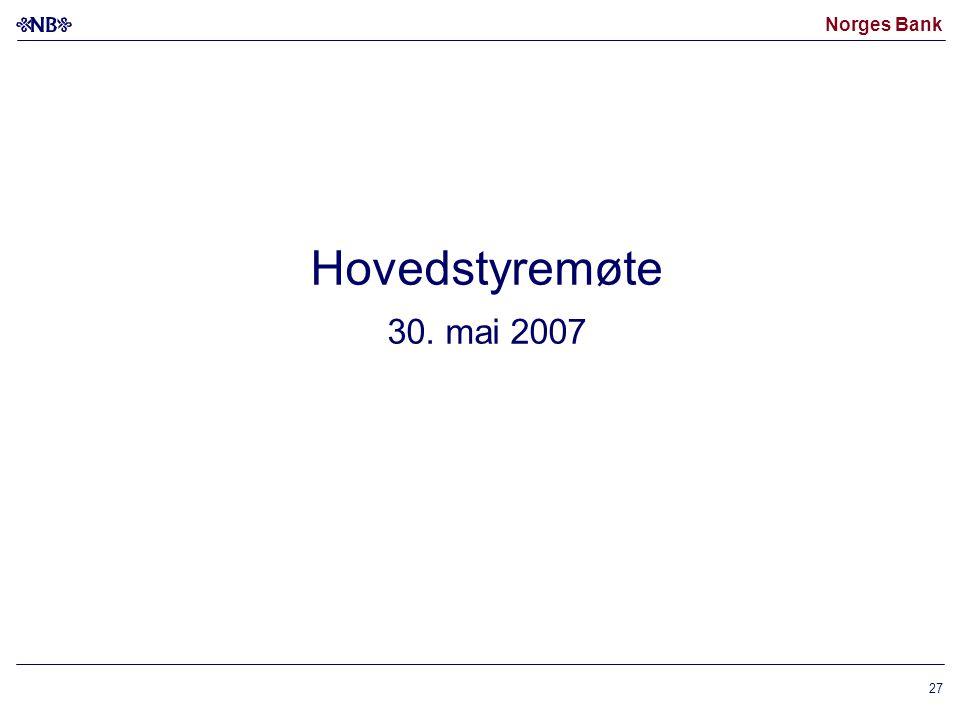 Norges Bank 27 Hovedstyremøte 30. mai 2007