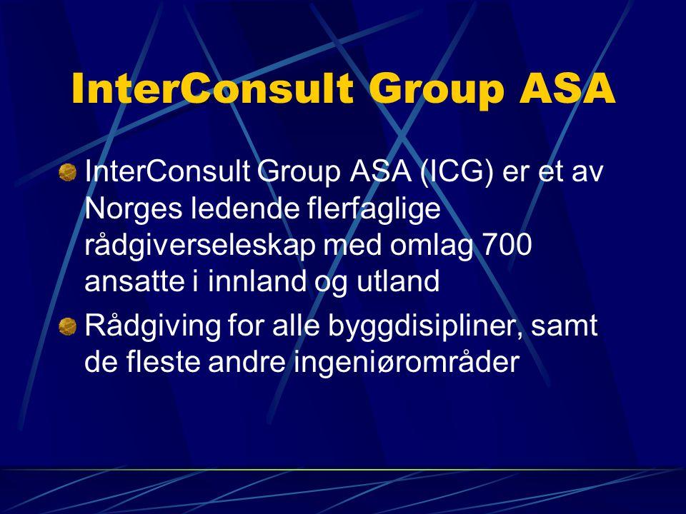 InterConsult Group ASA InterConsult Group ASA (ICG) er et av Norges ledende flerfaglige rådgiverseleskap med omlag 700 ansatte i innland og utland Råd