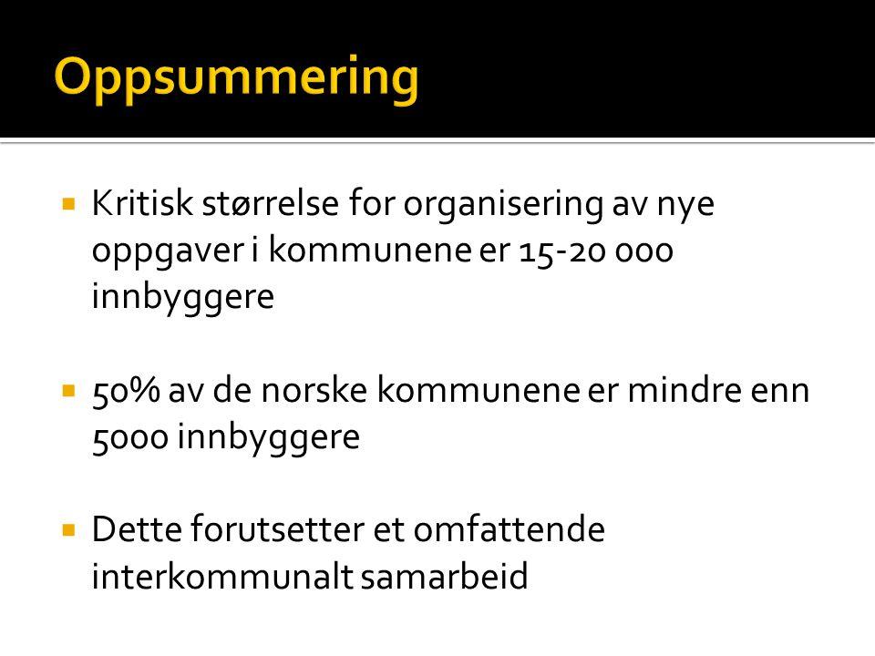  Kritisk størrelse for organisering av nye oppgaver i kommunene er 15-20 000 innbyggere  50% av de norske kommunene er mindre enn 5000 innbyggere  Dette forutsetter et omfattende interkommunalt samarbeid
