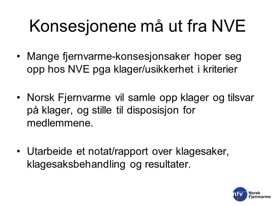 Konsesjonene må ut fra NVE Mange fjernvarme-konsesjonsaker hoper seg opp hos NVE pga klager/usikkerhet i kriterier Norsk Fjernvarme vil samle opp klag