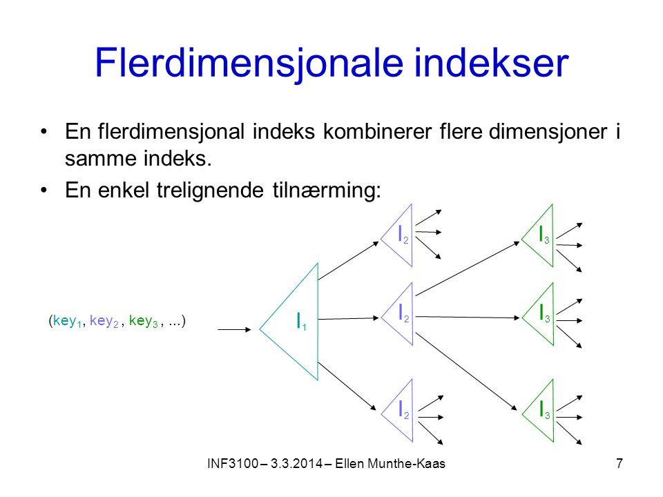 Flerdimensjonale indekser En flerdimensjonal indeks kombinerer flere dimensjoner i samme indeks.