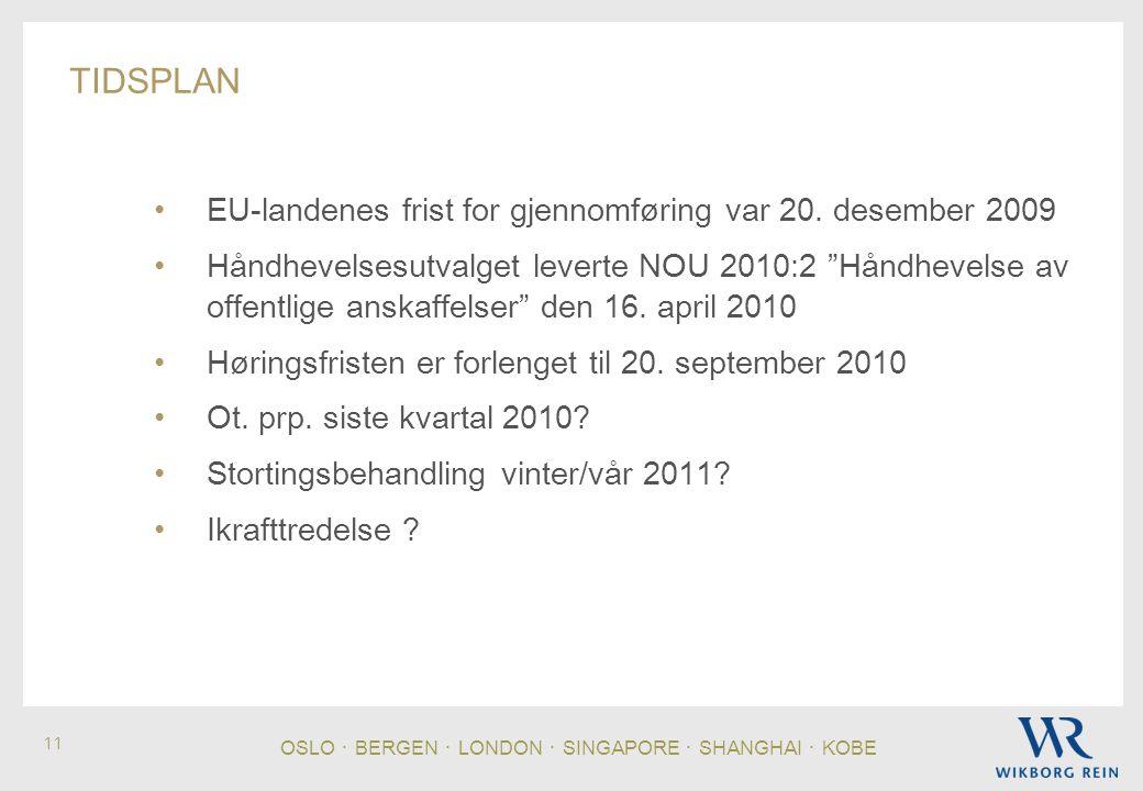 OSLO ・ BERGEN ・ LONDON ・ SINGAPORE ・ SHANGHAI ・ KOBE 11 TIDSPLAN EU-landenes frist for gjennomføring var 20.