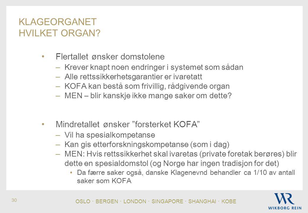 OSLO ・ BERGEN ・ LONDON ・ SINGAPORE ・ SHANGHAI ・ KOBE 30 KLAGEORGANET HVILKET ORGAN.