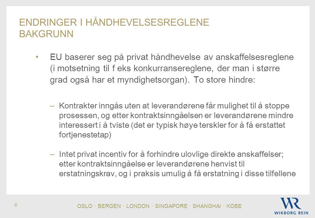OSLO ・ BERGEN ・ LONDON ・ SINGAPORE ・ SHANGHAI ・ KOBE 6 ENDRINGER I HÅNDHEVELSESREGLENE BAKGRUNN EU baserer seg på privat håndhevelse av anskaffelsesreglene (i motsetning til f eks konkurransereglene, der man i større grad også har et myndighetsorgan).