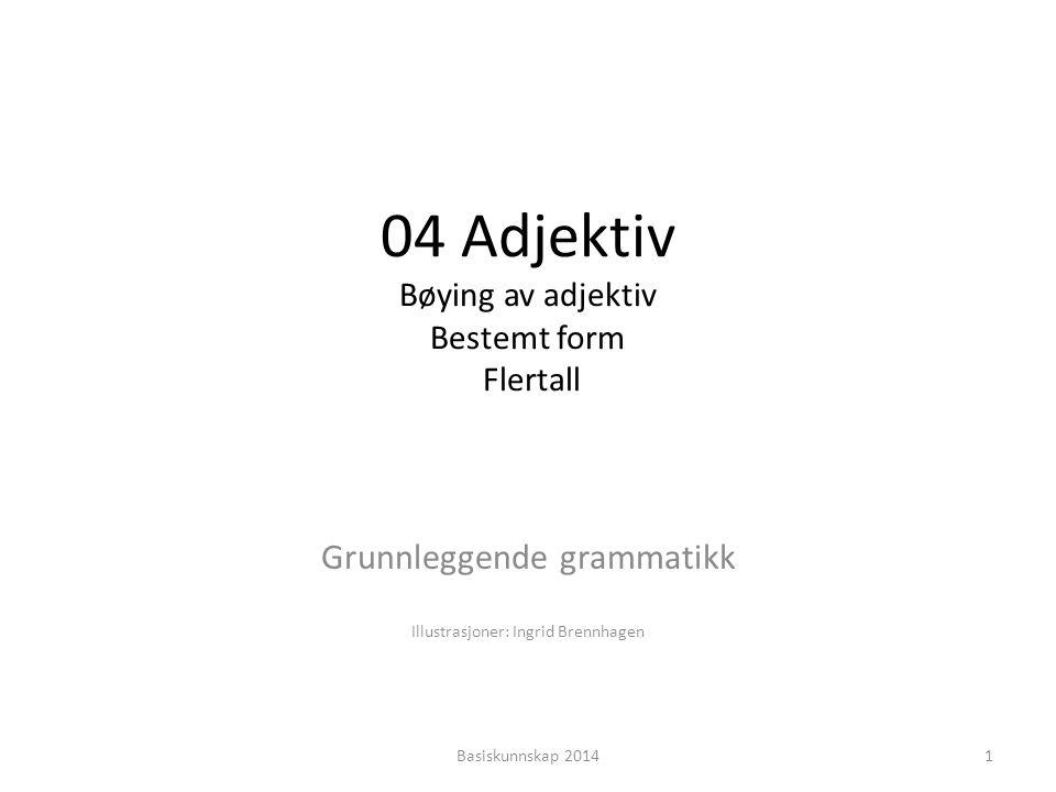 04 Adjektiv Bøying av adjektiv Bestemt form Flertall Grunnleggende grammatikk Illustrasjoner: Ingrid Brennhagen 1Basiskunnskap 2014