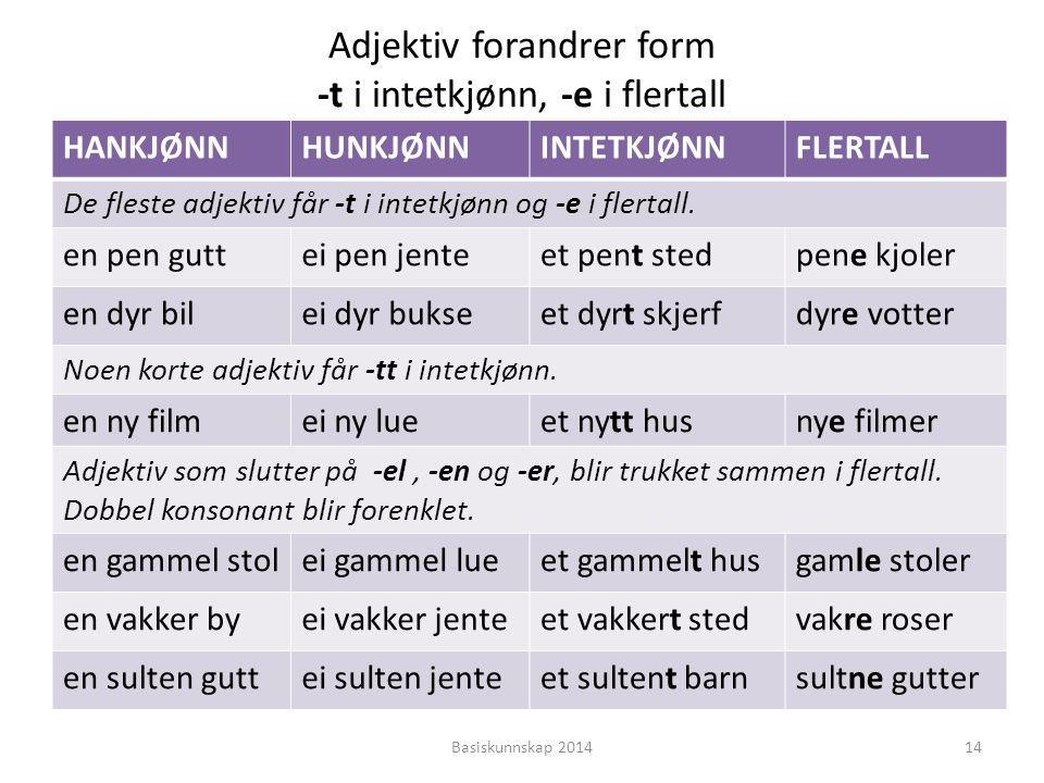 Adjektiv forandrer form -t i intetkjønn, -e i flertall HANKJØNNHUNKJØNNINTETKJØNNFLERTALL De fleste adjektiv får -t i intetkjønn og -e i flertall. en