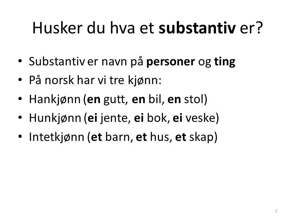 Husker du hva et substantiv er? Substantiv er navn på personer og ting På norsk har vi tre kjønn: Hankjønn (en gutt, en bil, en stol) Hunkjønn (ei jen