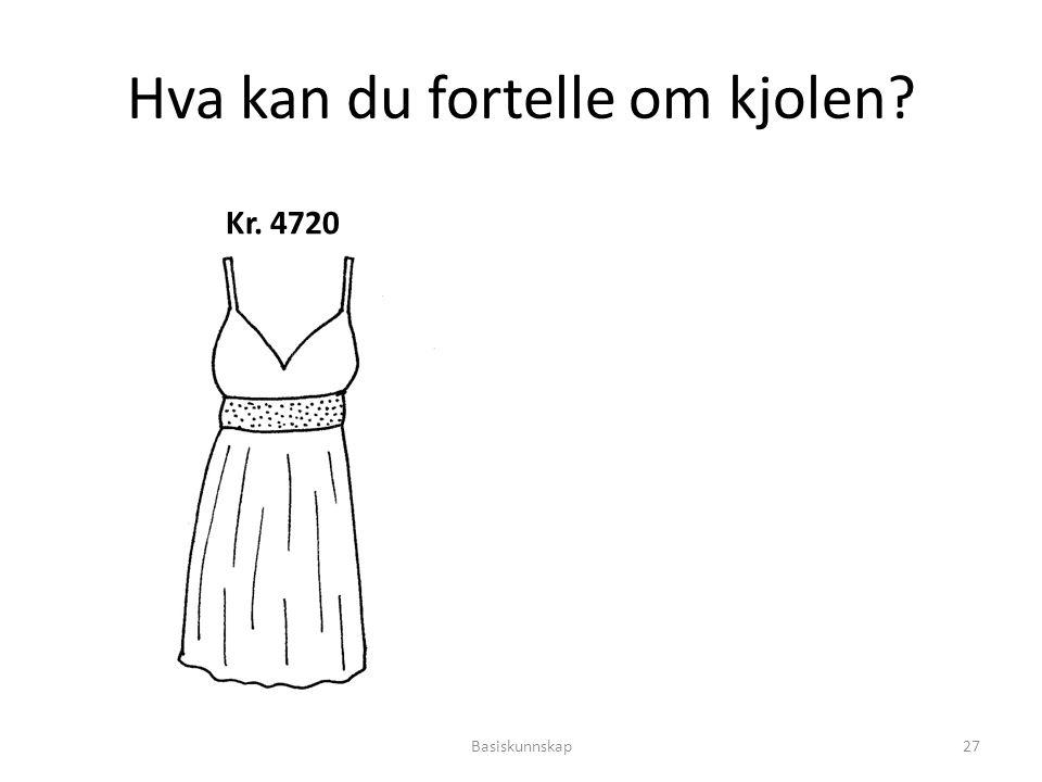 Hva kan du fortelle om kjolen? Kr. 4720 Basiskunnskap27
