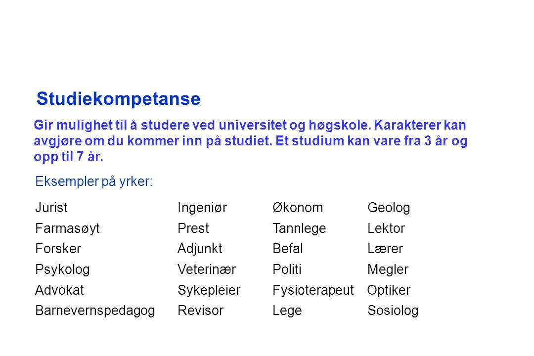 Studiekompetanse Gir mulighet til å studere ved universitet og høgskole.
