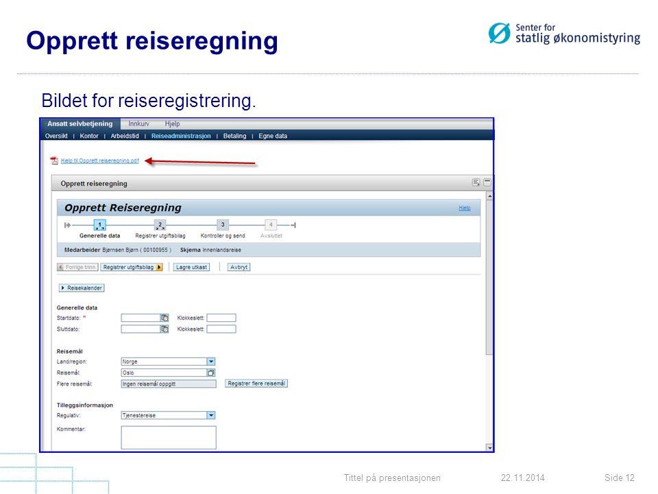 Tittel på presentasjonenSide 1222.11.2014 Opprett reiseregning Bildet for reiseregistrering.