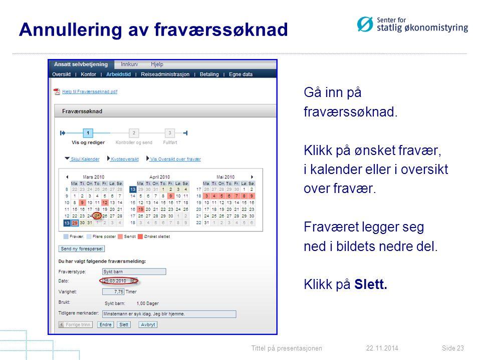 Tittel på presentasjonenSide 2322.11.2014 Annullering av fraværssøknad Gå inn på fraværssøknad.