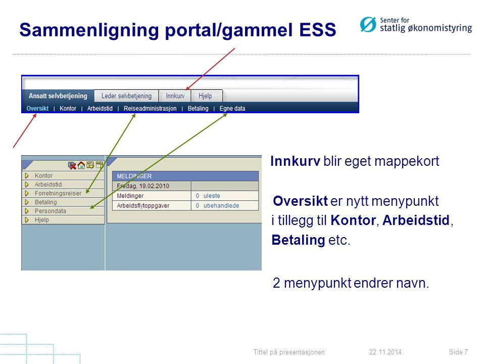 Tittel på presentasjonenSide 722.11.2014 Sammenligning portal/gammel ESS Innkurv blir eget mappekort Oversikt er nytt menypunkt i tillegg til Kontor, Arbeidstid, Betaling etc.