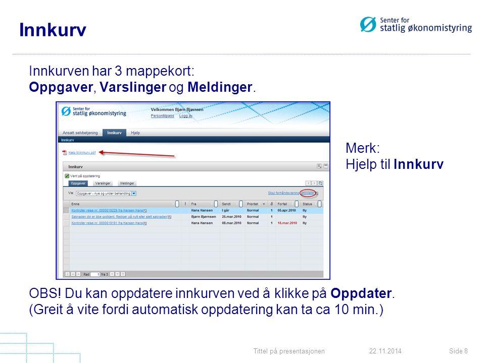 Tittel på presentasjonenSide 822.11.2014 Innkurv Innkurven har 3 mappekort: Oppgaver, Varslinger og Meldinger.