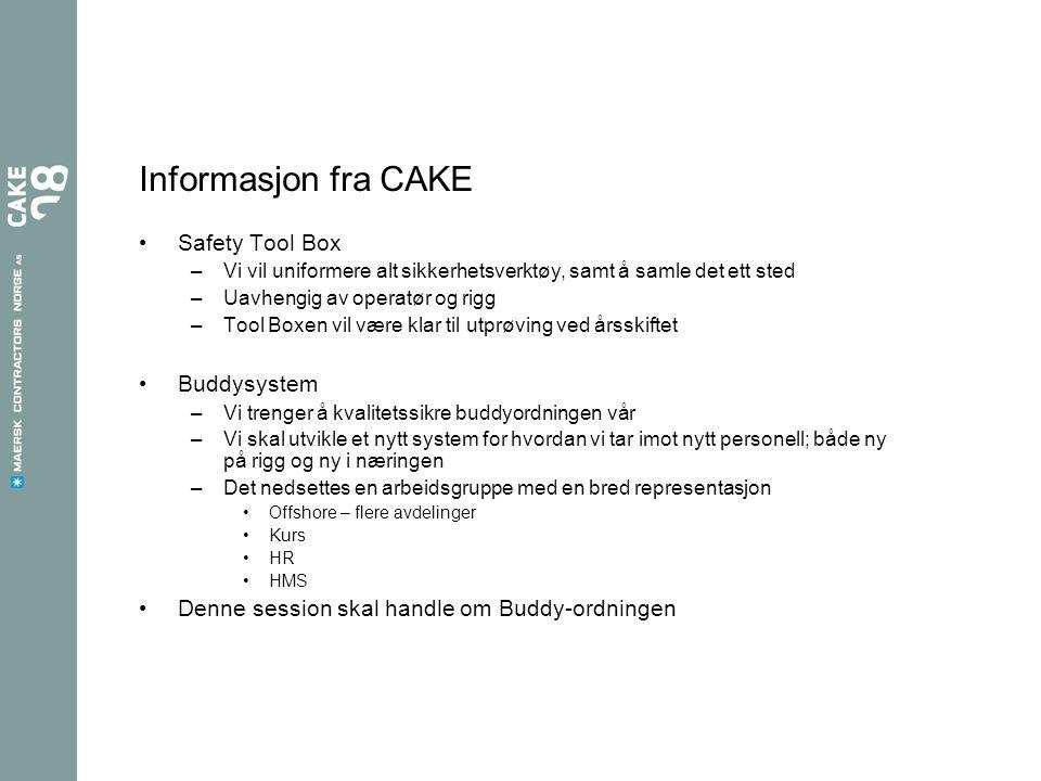 Informasjon fra CAKE Safety Tool Box –Vi vil uniformere alt sikkerhetsverktøy, samt å samle det ett sted –Uavhengig av operatør og rigg –Tool Boxen vi