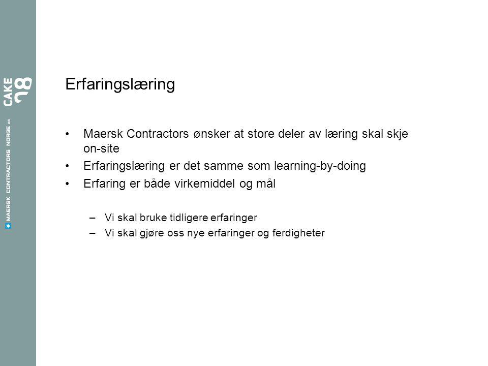 Erfaringslæring Maersk Contractors ønsker at store deler av læring skal skje on-site Erfaringslæring er det samme som learning-by-doing Erfaring er bå