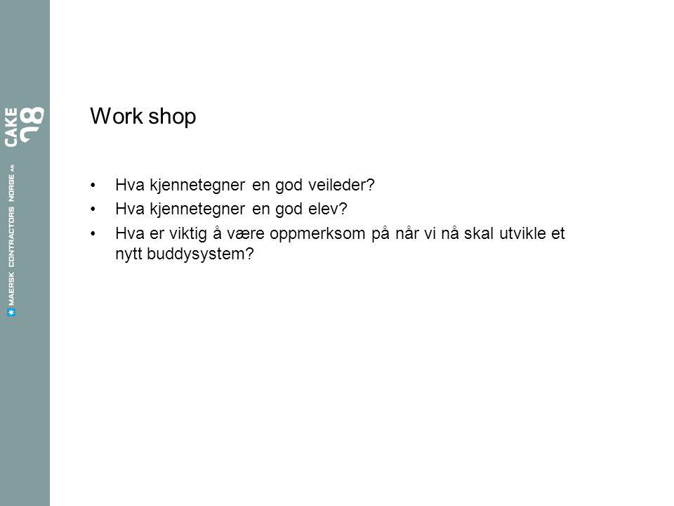Work shop Hva kjennetegner en god veileder? Hva kjennetegner en god elev? Hva er viktig å være oppmerksom på når vi nå skal utvikle et nytt buddysyste